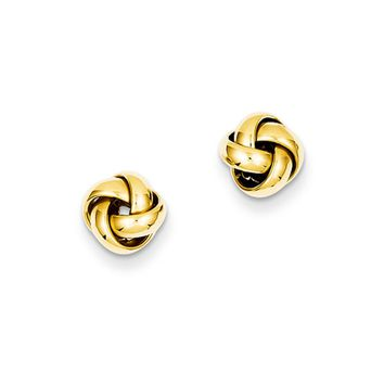 8mm Polished Love Knot Earrings in 14k Yellow Gold