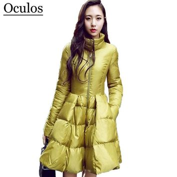 2015 New Fashion Women Winter Down Jackets Warm Long Slim Coat And Jacket Female Big Swing Yellow/black Ladies Snow Outwear