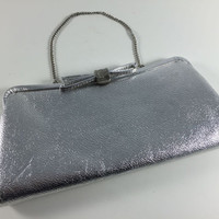 Vintage Silver Shiny Metallic Purse With Bow Clasp Retro 1950's Silver Clutch Handbag