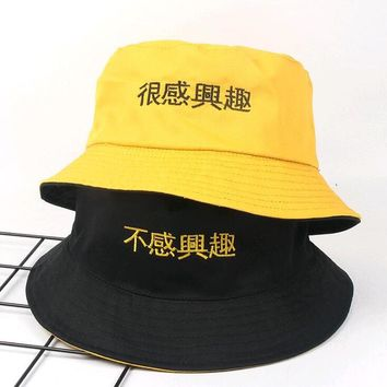 New Two Side Reversible Yellow Bucket Hat men women chapeau pescador hunting hiking hat Bob Caps Beach Suncreen hat for summer