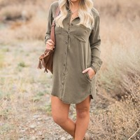 Astoria Denim Dress (Olive)