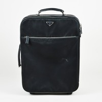 "Prada ""Nero"" Black Nylon & Saffiano Leather Rolling Trolley Carry On Bag"