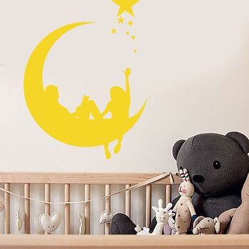 Vinyl Wall Decal Crescent Star Dream Fairy Tale Children's Room Decor Stickers (2820ig)