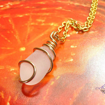 Sea Glass Necklace - Wire wrapped white seaglass from Hawaii, Hawaiian jewelry for beach brides