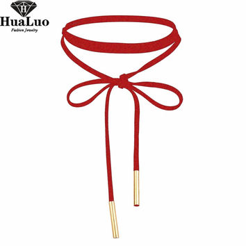HUALUO New Fashion Sexy Red Choker Necklace Velvet Long Necklace For Women Girl Christmas Jewelry NW3468