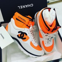 Chanel Orange High Tops Women's Sneakers Lace Up With Buckle Bandage Spots Shoes B-GSXC-LXYZ Orange