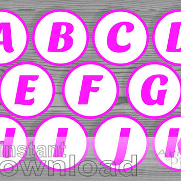 party circle 2 1/2 in, magenta, printable alphabet circle, number, letter, for DIY favor bag, cupcake topper, table number, instant download