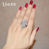 UMODE Anagallis Arvensis Micro CZ White Gold Color Simulated CZ Stone Cocktail Rings Jewelry for Women Anel Feminino UR0269