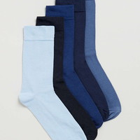 Blue Plain 5 Pack Socks