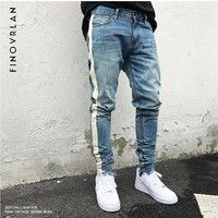 2018 new kanye we st Men Jeans Slim Fit Skinny Denim Jeans fear of God Waist Hip Hop Classic Blue Quality Trousers stripe Pants