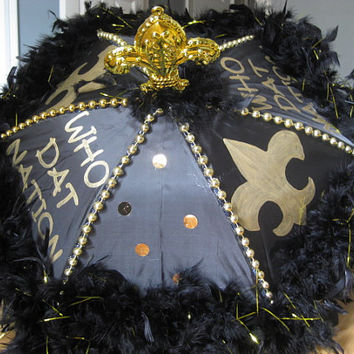 SuPER FuN GO SAINTS- MEDIUM Black and Gold Second Line Umbrella with extras- fleur de lis topper, bead spines, handpaint, boa
