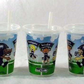 Seattle Seahawks NFL 10 oz Sip n Go Plastic Cups (Set of 3) BPA Free