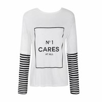 NO1 CARES STRIPE SLEEVE TOP