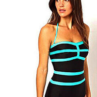 Sky Blue Simple Slim One Piece Swimsuit