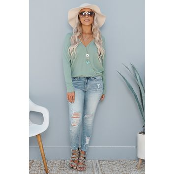 When You Need It Surplice Top (Mint)