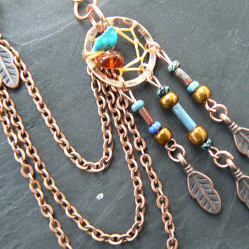 ONE copper and dark turquoise dreamcatcher chained ear cuff turquoise czech beads cuff in boho gypsy hippie hipster native and tribal fusion