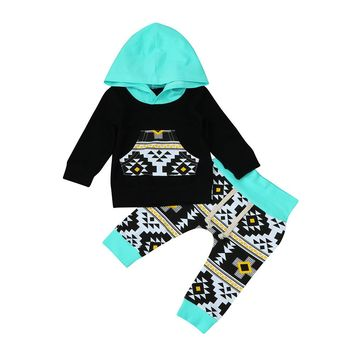 Infant Boy/Girl Geometric Hoodie & Long Pants Set