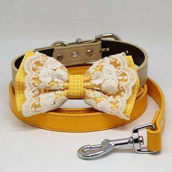 Dog Bow Tie collar and Leash, Yellow Bow tie, Dog collar, Citrus Leash, Handmade, Dog collar wedding, Dog Lovers, Lace
