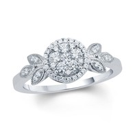 1/3 CT. T.W. Composite Diamond Frame Petal Tri-Sides Vintage-Style Engagement Ring in 10K White Gold|Zales