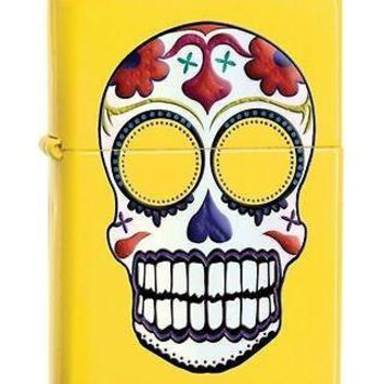 Zippo Day of the Dead Fun Punk Rocker Gothic Biker YELLOW Skull Lemon Lighter