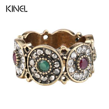 Kinel Turkey Rings For Women Hollow Vintage Wedding Ring Jewelry Ancient Gold Color Colorful Resin Stone Anillos Mujer