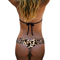 Sexy Women Brazilian Bikini 2017 Swimwear Bathing Beach Thong Leopard Bottom Plus Size Swimwear Women Girl biquini swimsuit F1