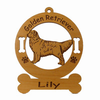 3254 Golden Retriever Standing Ornament Personalized with Your Dog's Name