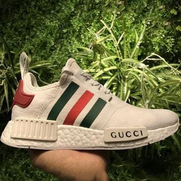 """Adidas""GUCCI NMD Fashion Trending Casual Women Print Running Sports Shoes White F"