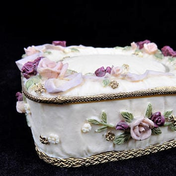 Dezine Trinket Box, Raised Ribbons and Roses, Hand Painted, Vintage Home Decor Dresser Box