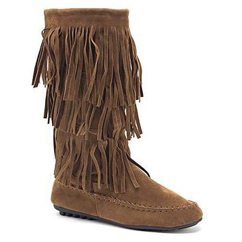 2b6ee6fa0a5a SurfandtheCity on Etsy $75.00. Women's BDW-16 3 Layer Fringe Tall Zipped Moccasin  Boots
