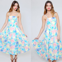 Vintage 80s PASTEL Floral Sun Dress Pleated Midi Dress Sleeveless Sundress
