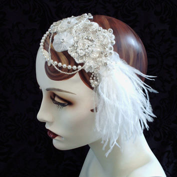 Snow White Bridal Headband 1920's Flapper by CarolynnRedwineGeer