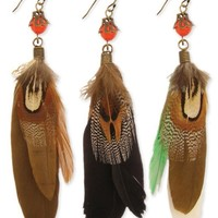 Z Designs Bead and Feather Dangle Earring