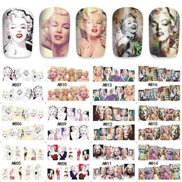 12 sheets water decal nail art nail sticker slider tattoo full Cover beauty Marilyn Monroe A805-816
