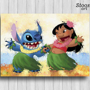 Lilo and Stitch print disney gift nursery art decor