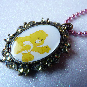Funshine Care Bear Yellow Sun Necklace Kawaii TV - Pink Metallic Ball Chain Long