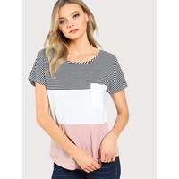 Multicolor Round Neck Short Sleeve T Shirt