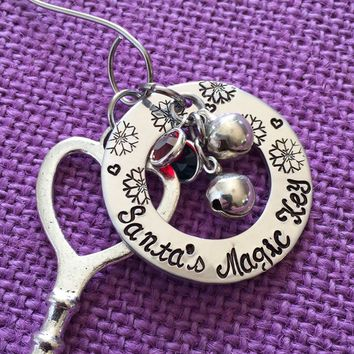 Christmas Ornament - Santa's Magic Key - Christmas Tree Ornaments - Hand Stamped - Key - Santa