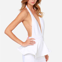 Bariano Bianca Backless White Peplum Dress