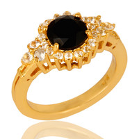 18K Yellow Gold Plated Sterling Silver White Topaz And Black Onyx Solitaire Ring