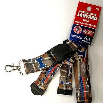 Illinois Fighting Illini CAMO RR Deluxe 2-sided Lanyard Keychain University of