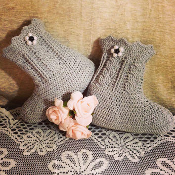CUSTOM Hand Crochet Women's Soft Grey Cabled Ankle Bootie Slippers - Women's House Slippers