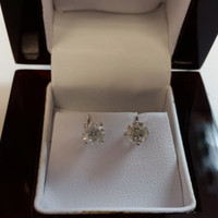 1.12 Carat H SI3 Diamond Earrings 14k White Gold Setting Jewelry Fine Make Anniversary Fashion Collection Quality Rare Fine Quality Must See