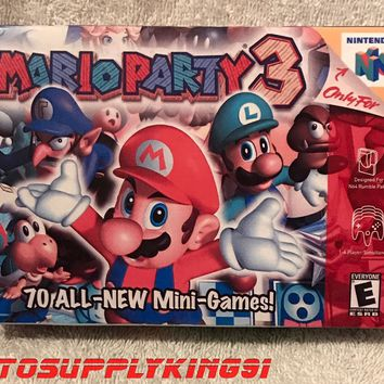 MARIO PARTY 3 (Nintendo 64, N64) Video Game Custom Art Box + Tray Only