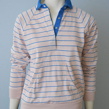 Vintage 1980's Light Pink and Blue Striped Long Sleeve Polo Rugby Shirt with Front Muff Pocket Women's Size Medium by Merona Sport