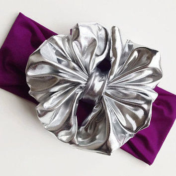 Metallic Bow Headband, Metallic Silver on plum Messy Bow Headband, Baby Girl Headband, Toddler Messy Bow Wrap