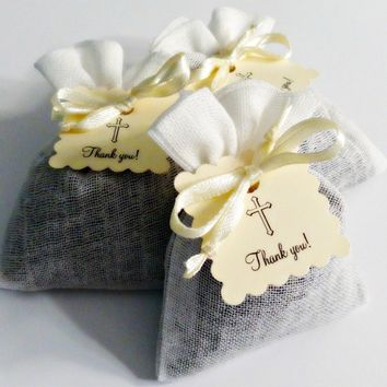 Baby Baptism Christening French Lavender Sachet Party Favors with Cross Thank You Tag