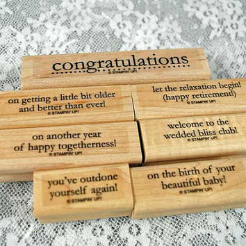 """Stampin Up Rubber Stamps - MINT Stampin Up  -- """"Congrats"""" Congratulations Set Great for Scrapping, Cardmaking, Crafts"""
