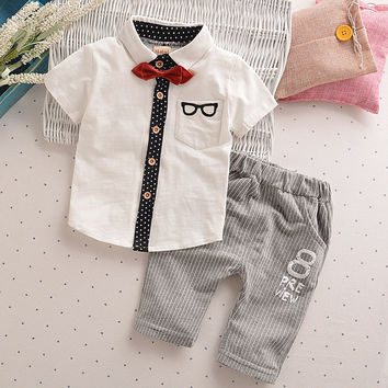Retail Toddler Children Clothes Summer Baby Boys Clothing Sets Gentleman Clothes Suits Kids Sweatshirt Child Formal Shirt+short