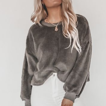 XOXO Charcoal Faux Fur Pullover
